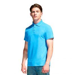 Бирюзовая мужская рубашка поло с коротким рукавом