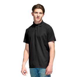 Чёрная мужская рубашка поло с коротким рукавом