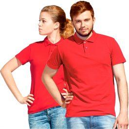 Красная универсальная рубашка-поло с коротким рукавом, общее фото