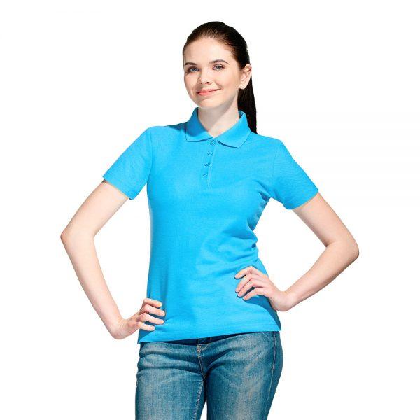 Бирюзовая женская рубашка поло с коротким рукавом