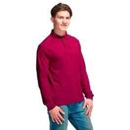 Рубашка поло мужская длинный рукав, цвет бордовый (винный)