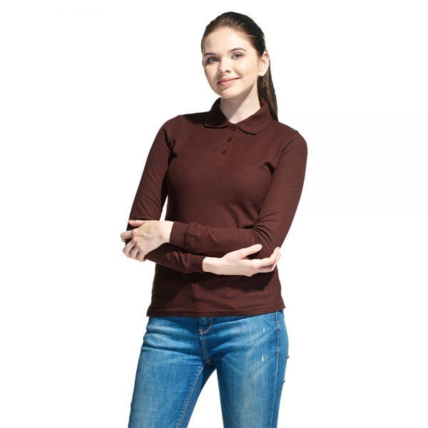 Рубашка поло женская длинный рукав, цвет коричневый