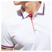 Универсальная рубашка поло с лайкрой и контрастными деталями, цвет белый, кроп 1
