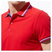 Универсальная рубашка поло с лайкрой и контрастными деталями, цвет красный, кроп 1