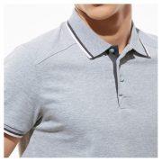 Универсальная рубашка поло с лайкрой и контрастными деталями, цвет серый меланж, кроп 1