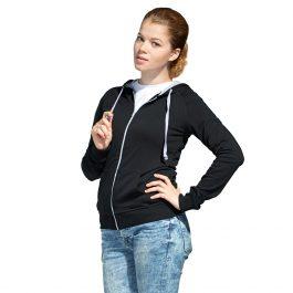 черная женская облегченная толстовка с капюшоном на молнии