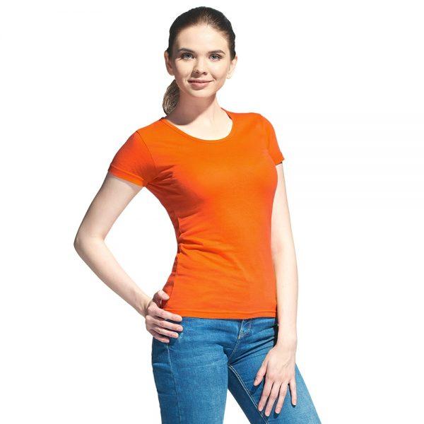 женская однотонная оранжевая футболка круглый вырез