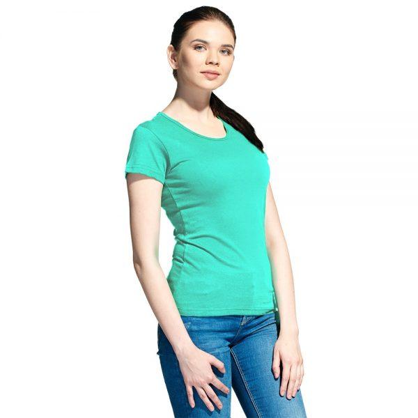 мятная женская однотонная футболка круглый вырез