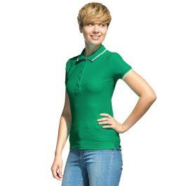 зеленая женская рубашка поло с кантами