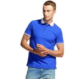 синяя с белым воротником мужская рубашка поло расцветки триколор