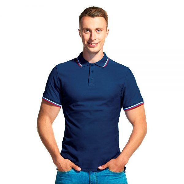 темно-синяя мужская рубашка поло расцветки триколор