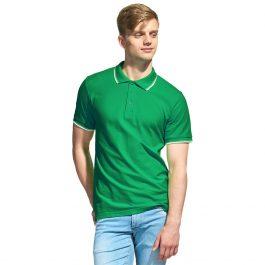 зеленая мужская рубашка поло с кантами
