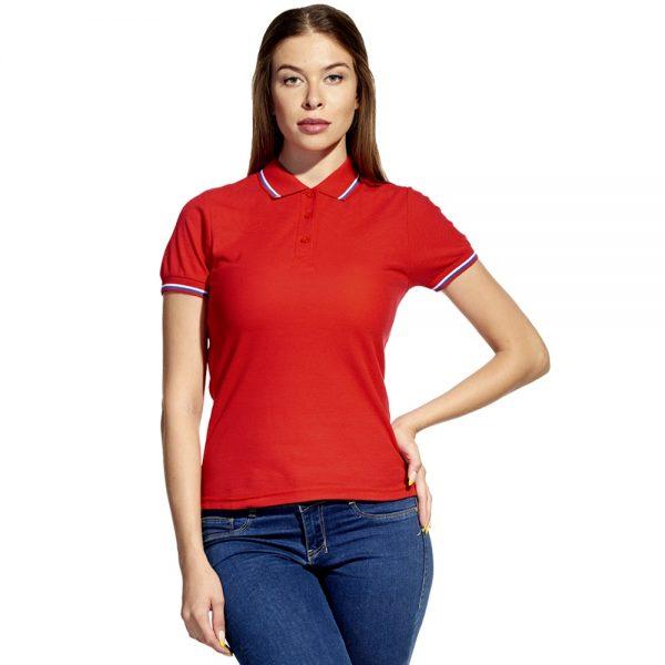 красная с красным воротником женская рубашка поло расцветки триколор