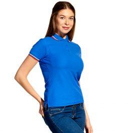синяя с синим воротником женская рубашка поло расцветки триколор