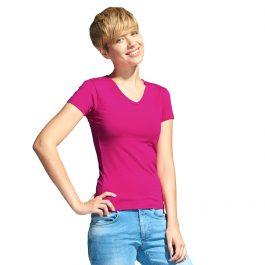 женская футболка с V-вырезом маджента