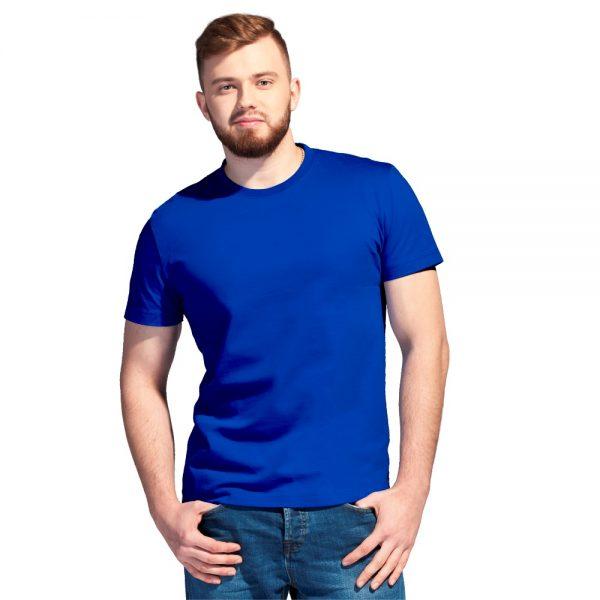 синяя однотонная футболка высокой плотности