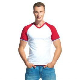 белая мужская футболка с триколором V-ворот