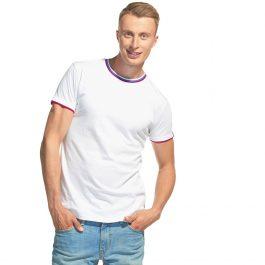белая мужская футболка с триколором О-ворот