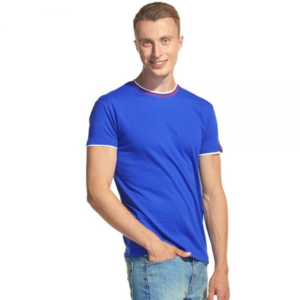 синяя мужская футболка с триколором О-ворот