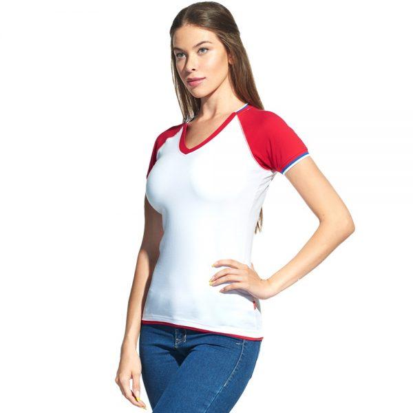белая женская футболка триколор с V-вырезом