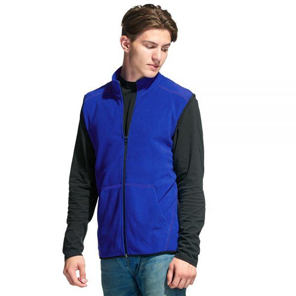 синий мужской флисовый жилет карманы кенгуру