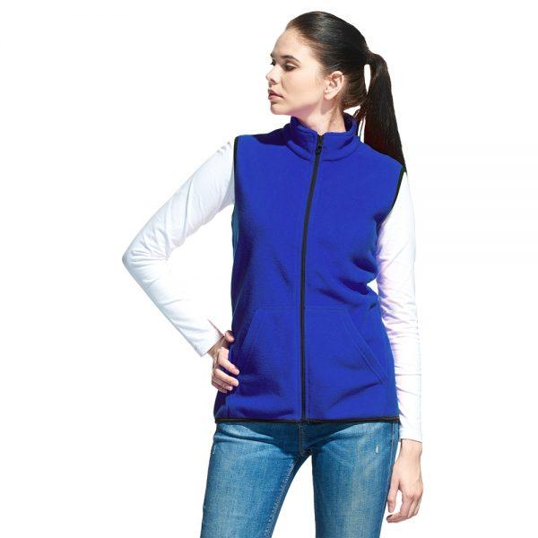 синий женский флисовый жилет карманы кенгуру