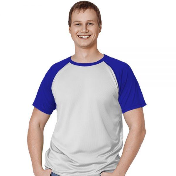 """белая с синим рукавами мужская спортивная футболка материал """"ложная сетка"""""""