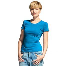 лазурная женская футболка стрейч с круглым воротом