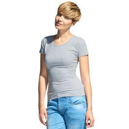 серый меланж женская футболка стрейч с круглым воротом