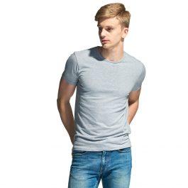Стрейчевая мужская футболка серый меланж