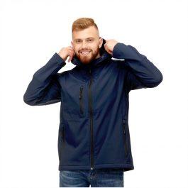 темно синяя мужская куртка с капюшоном материал софтшелл