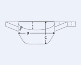 Размерная сетка поясной сумки